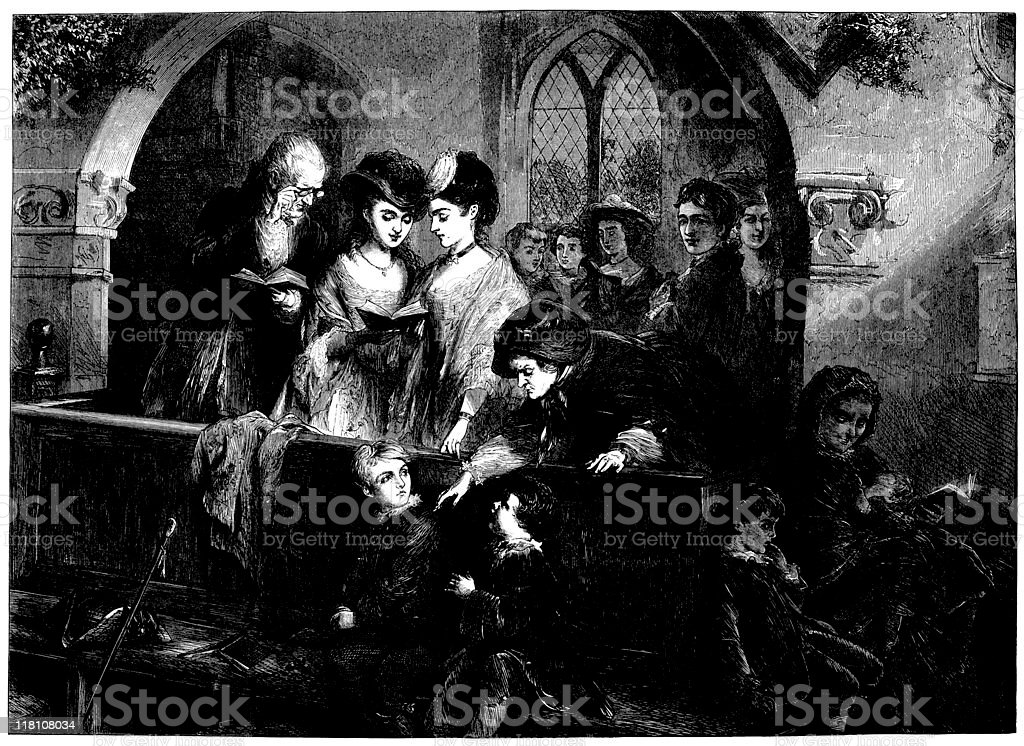 Family in church at Christmas - The Illustrated London News vector art illustration