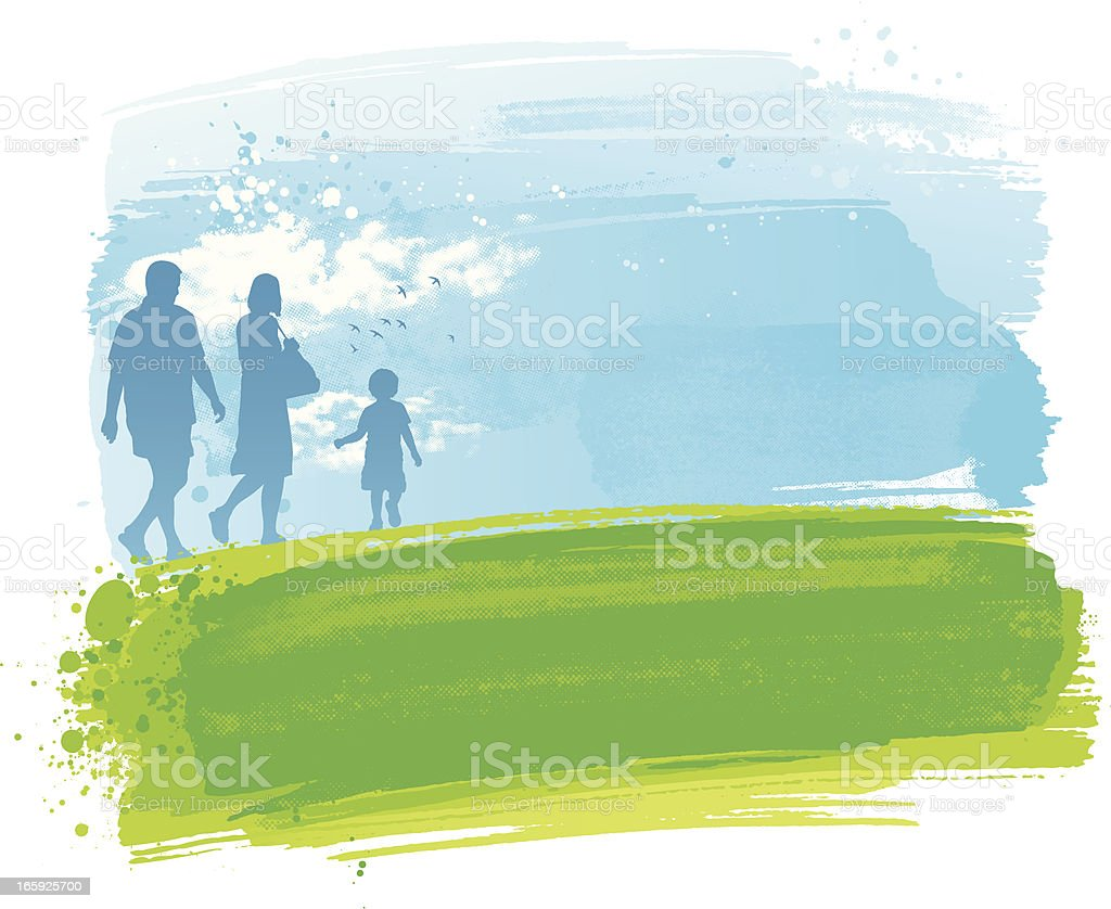 Family in the park royalty-free stock vector art