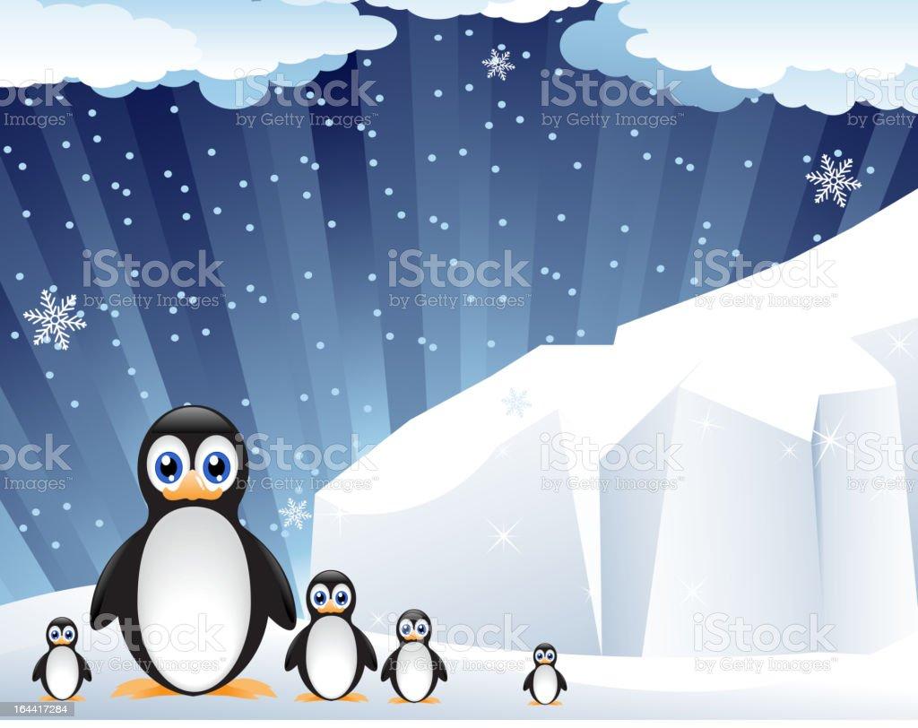 Family of amusing penguins royalty-free stock vector art