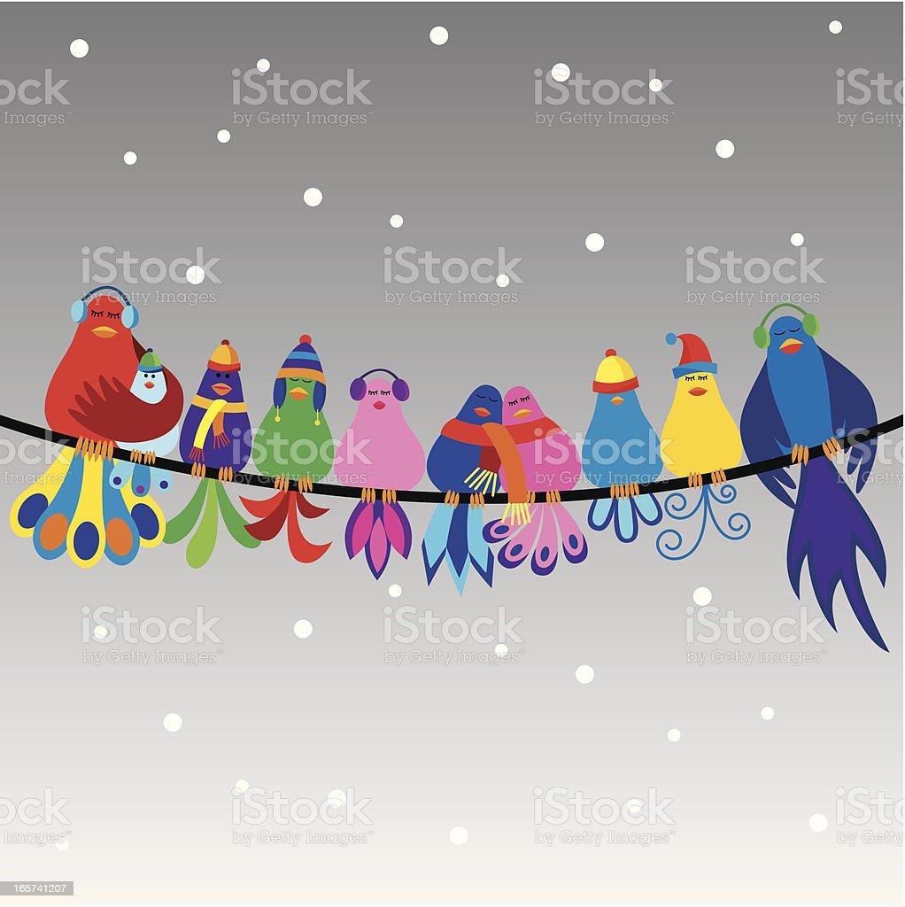 Family of birds in winter vector art illustration