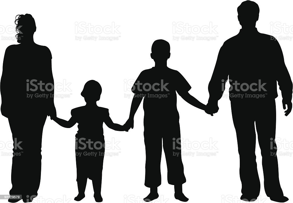 family of four vector vector art illustration