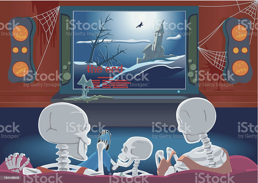 Family of skeletons are watching TV vector art illustration