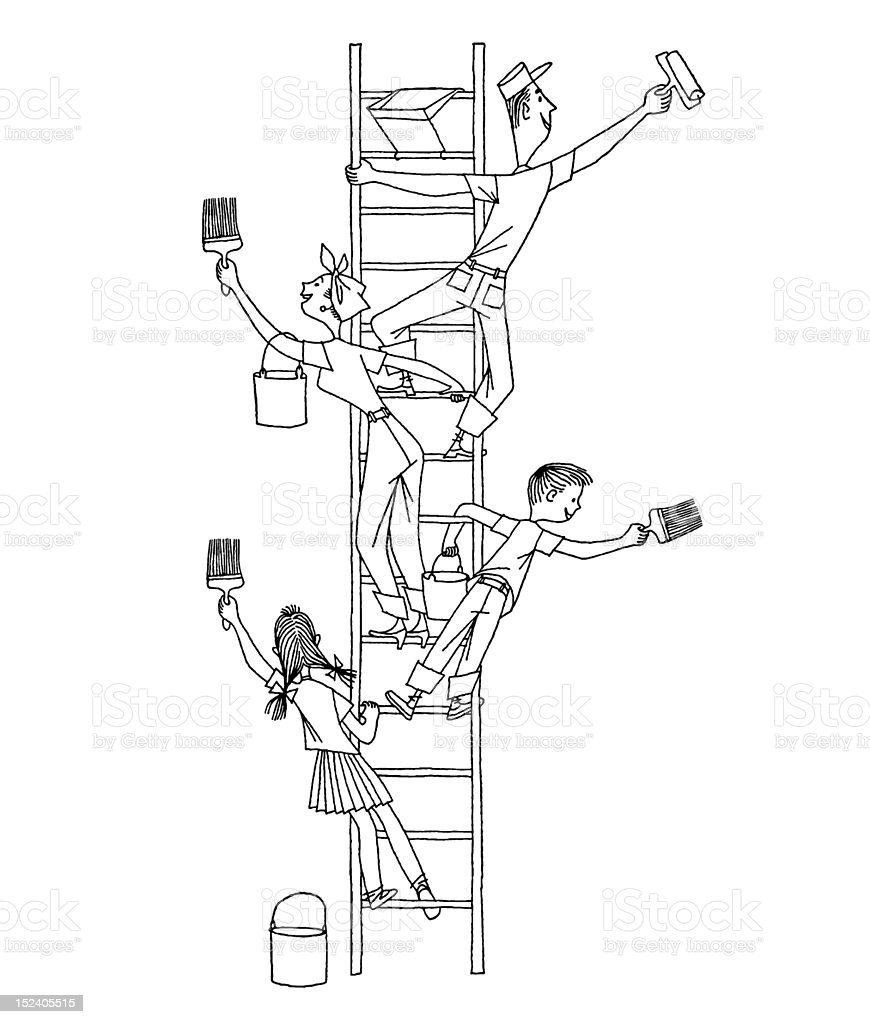 Family on a Ladder Painting royalty-free stock vector art