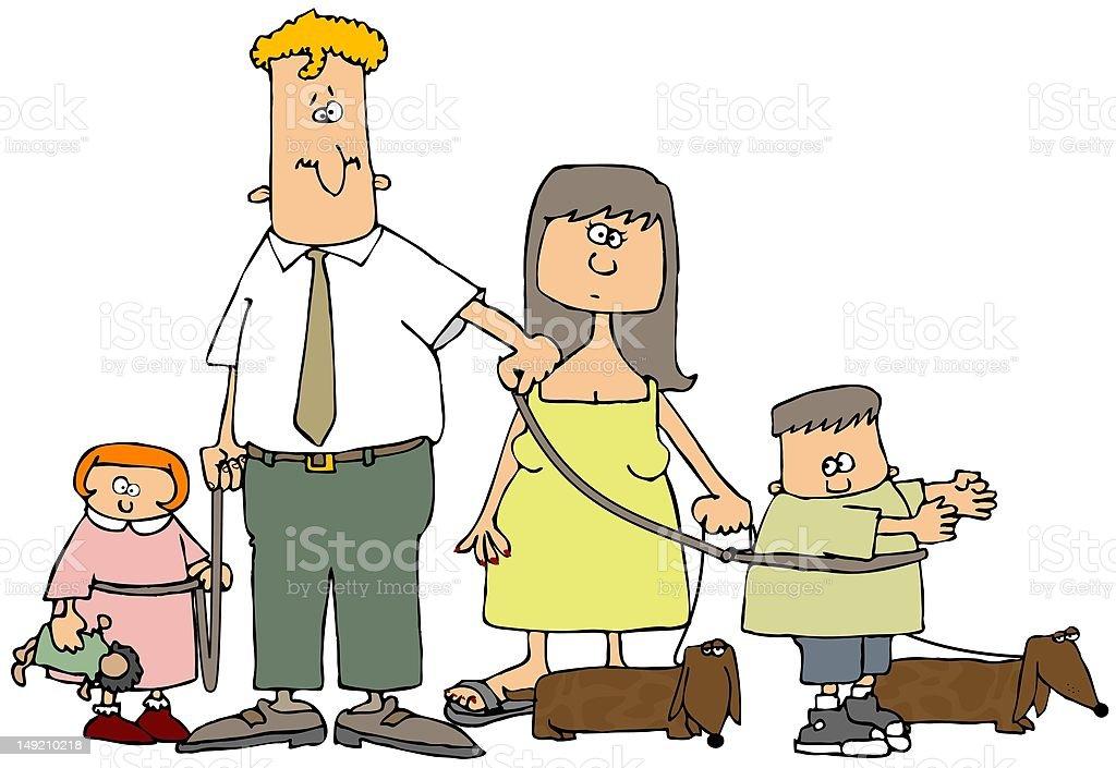 Family On A Leash vector art illustration