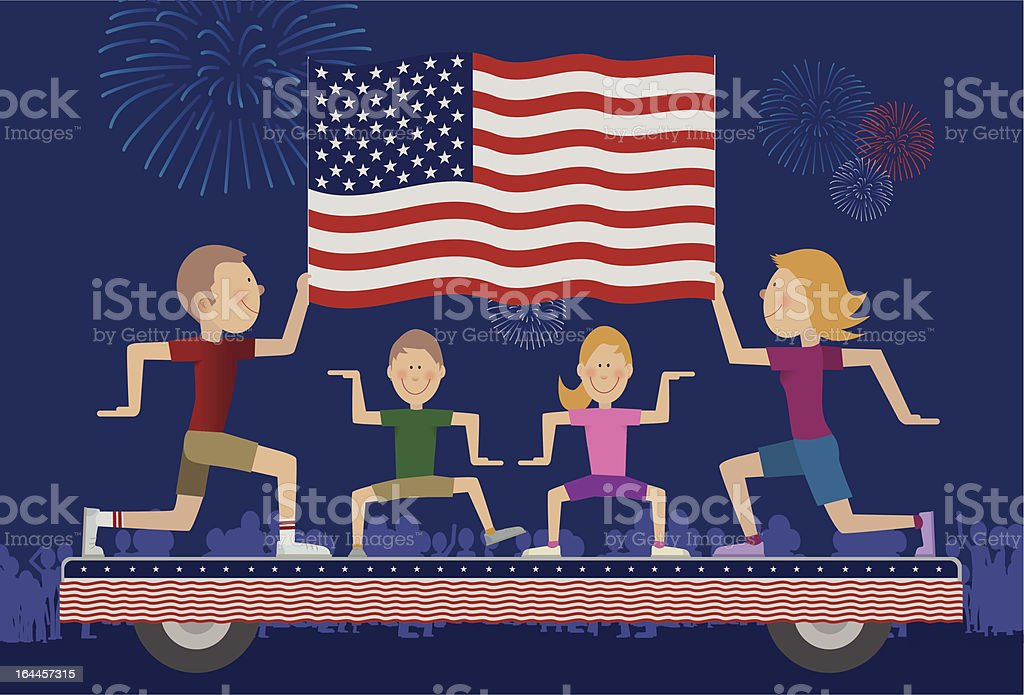 Family on float in 4th of July Parade. vector art illustration