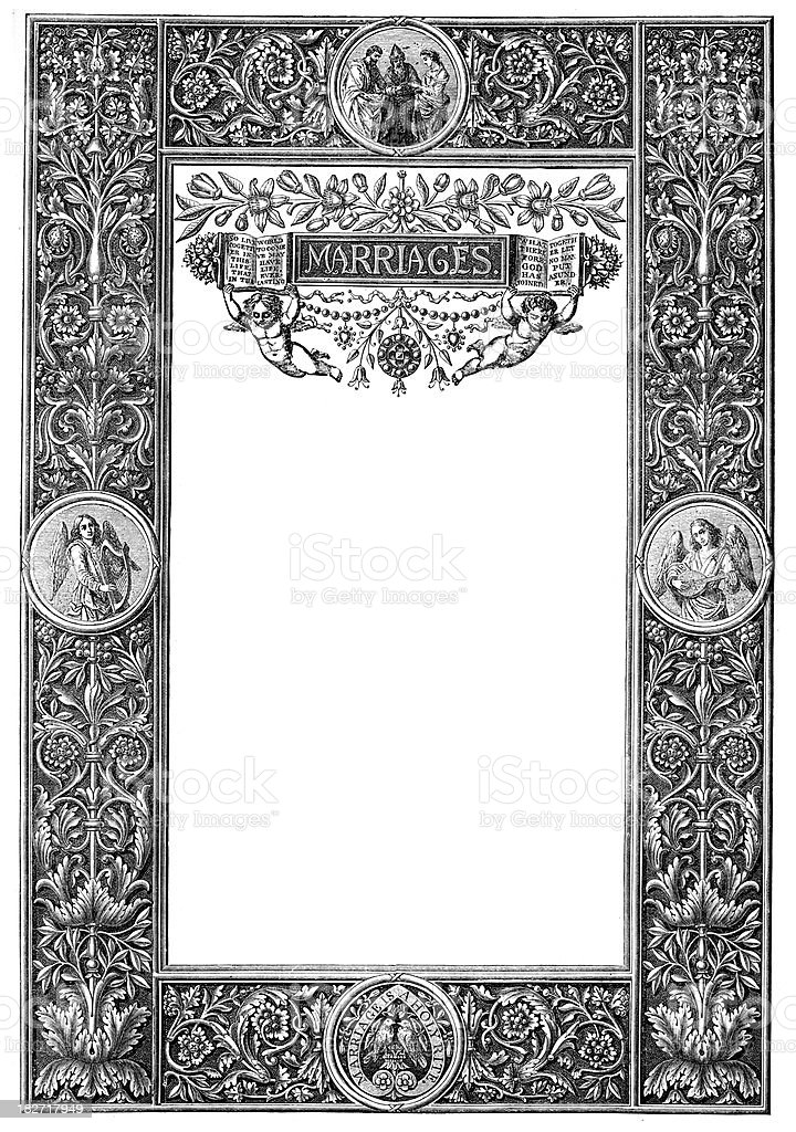 Family Register - Marriage vector art illustration