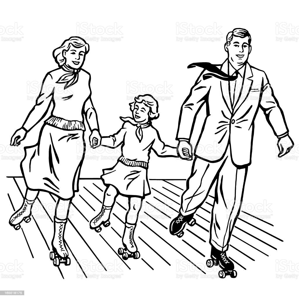 Family Rollerskating royalty-free stock vector art