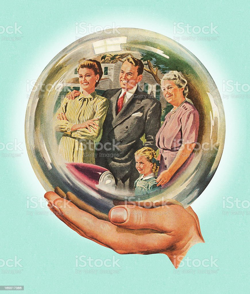 Family Shown in a Looking Glass royalty-free stock vector art