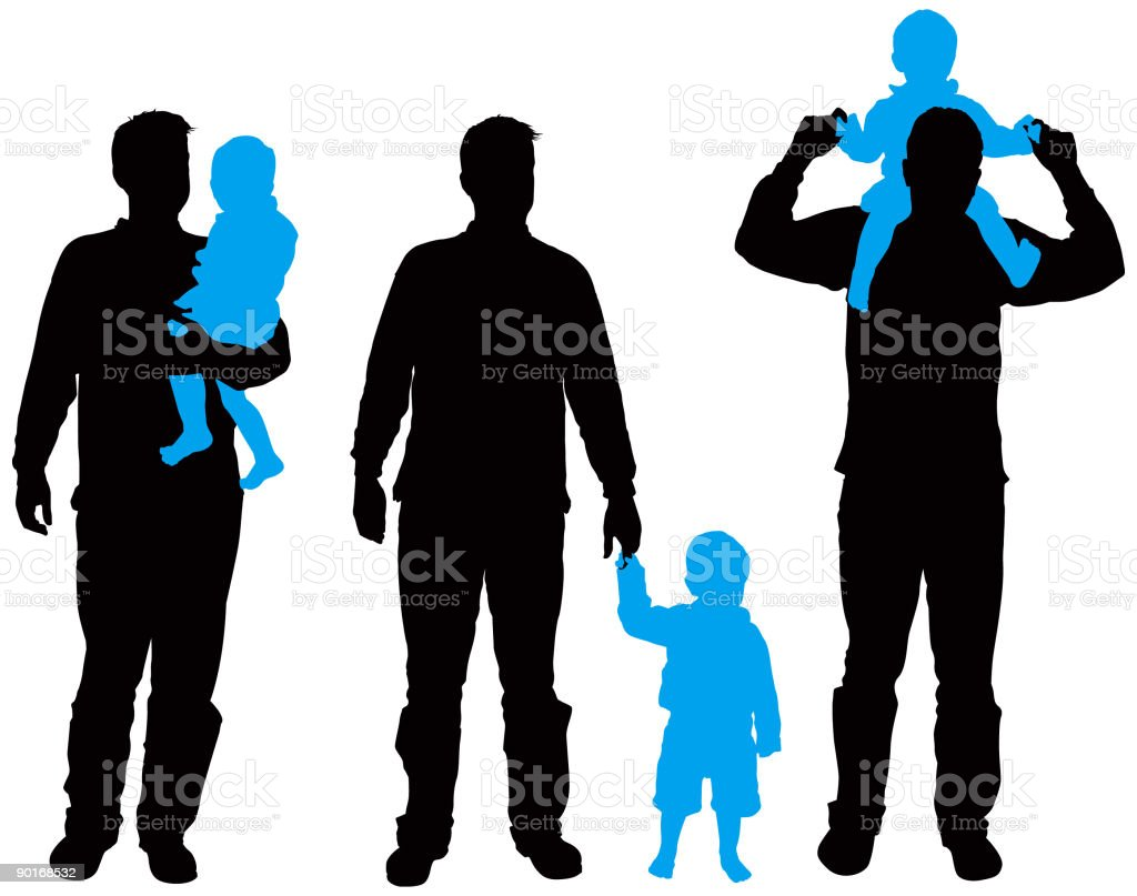 Family Silhouettes 6 (vector & jpg) vector art illustration