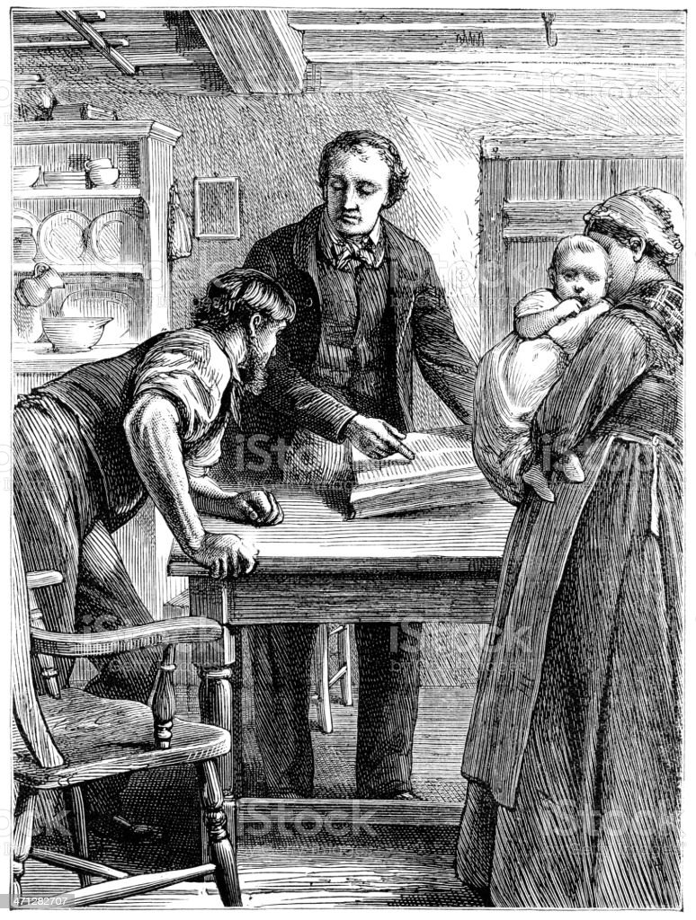 Family studying a large book (Victorian illustration) royalty-free stock vector art