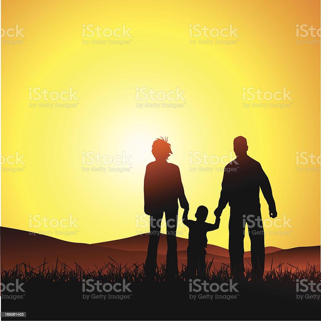 Family sunset retreat royalty-free stock vector art