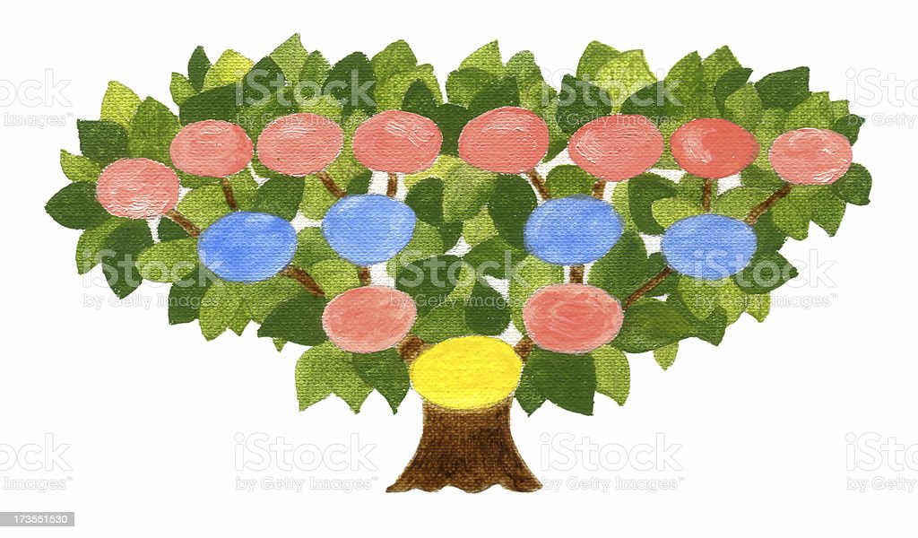Family Tree  - Oil painting royalty-free stock vector art