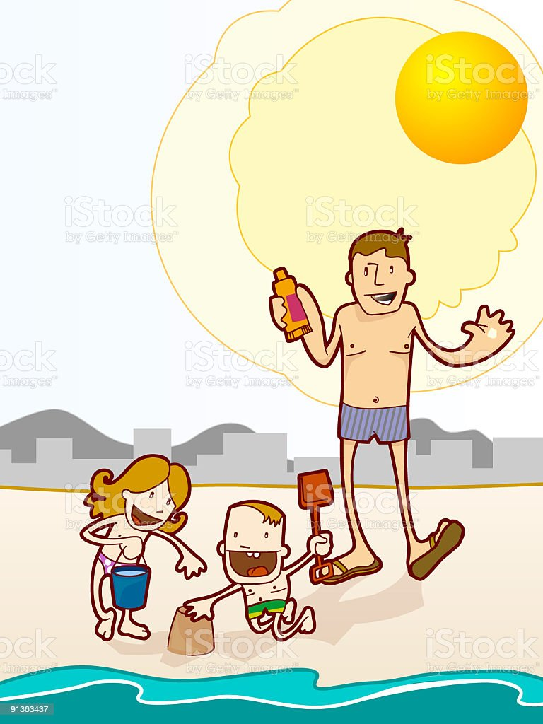 family under sun royalty-free stock vector art