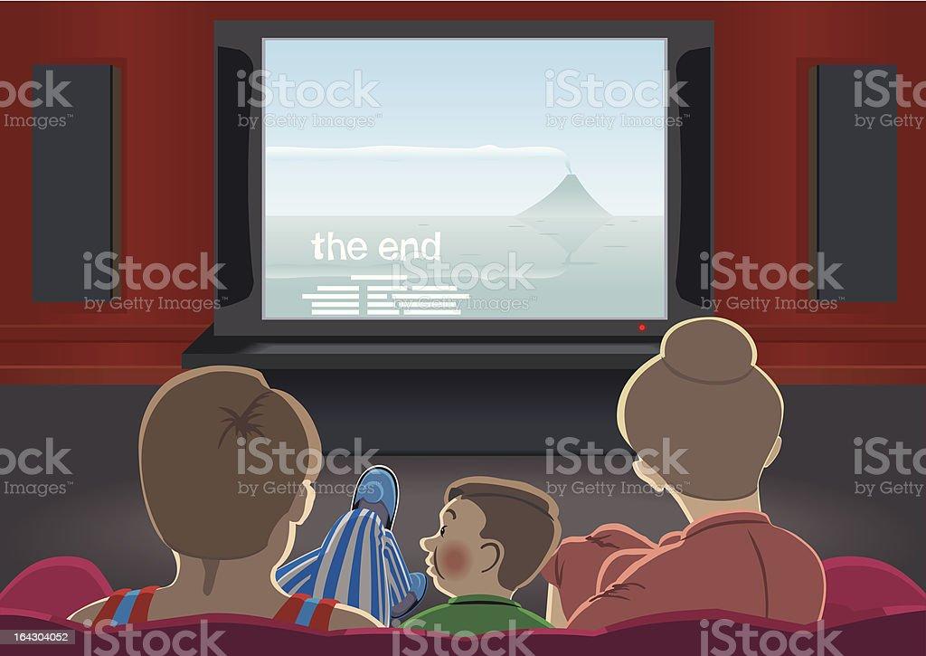 Family watch TV. vector art illustration