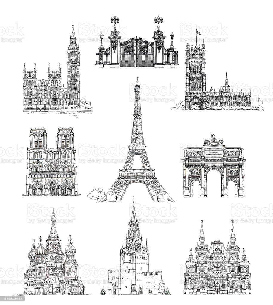 Famous buildings of Euripe, sketch collection. Paris, Moscow, London vector art illustration