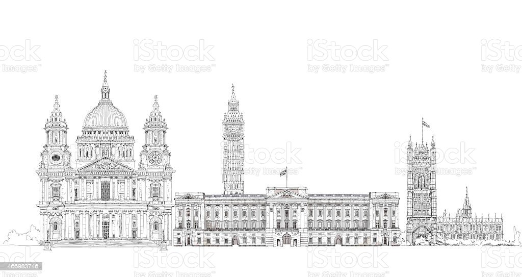 Famous buildings of the world, London.  Sketch collection. vector art illustration