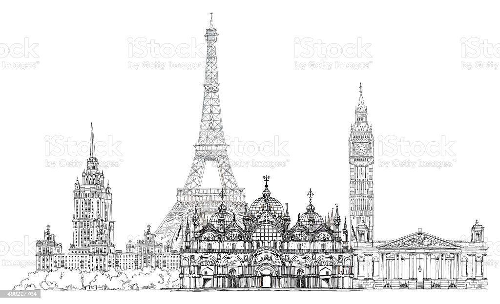 Famous buildings of the world, Sketch collection. vector art illustration
