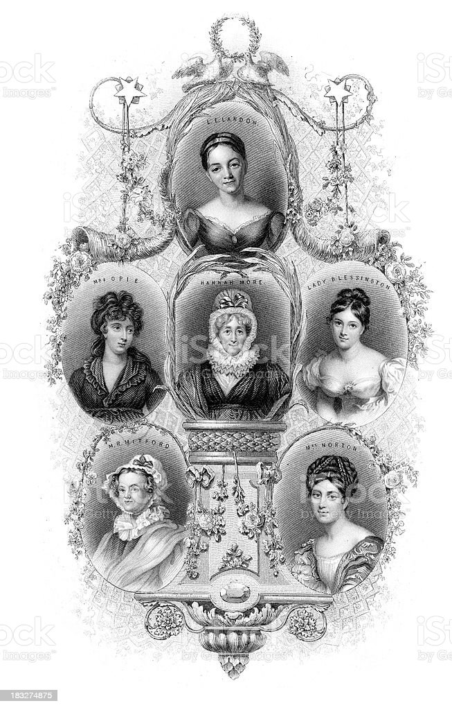 Famous Female Writers vector art illustration