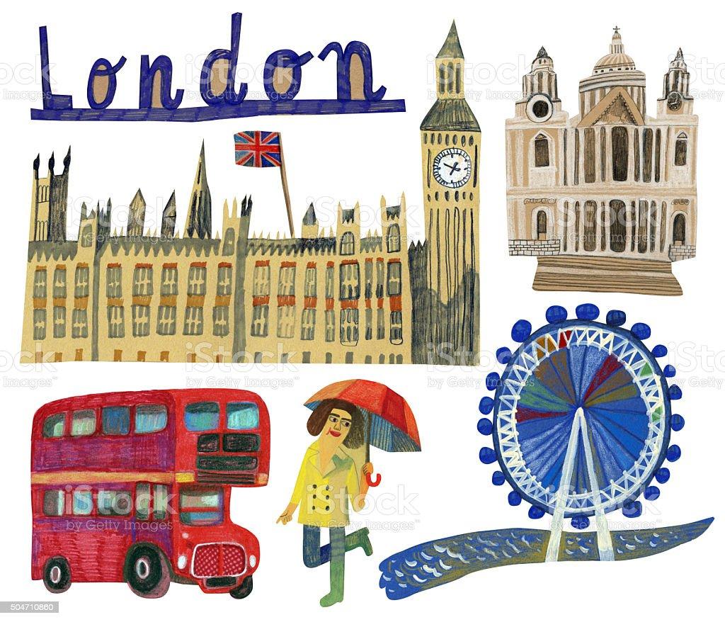 Famous landmarks of London in UK vector art illustration