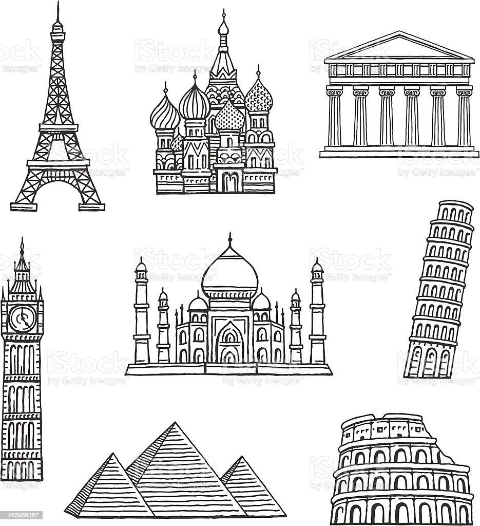 Famous Travel Destinations vector art illustration