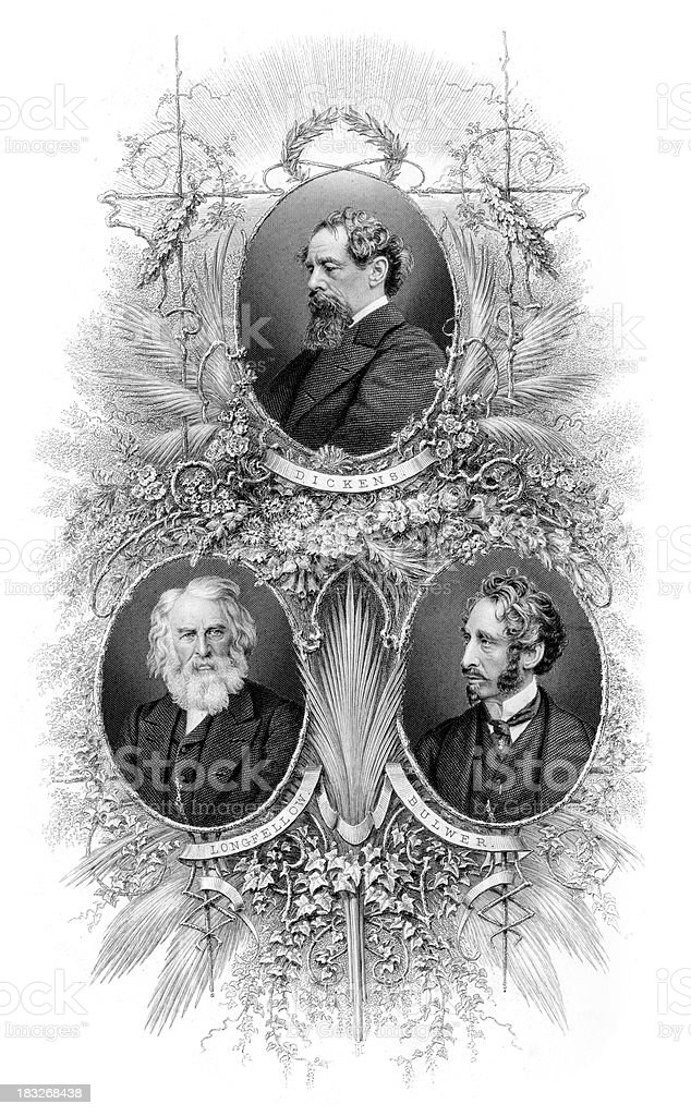 Famous Writers Charles Dickens royalty-free stock vector art