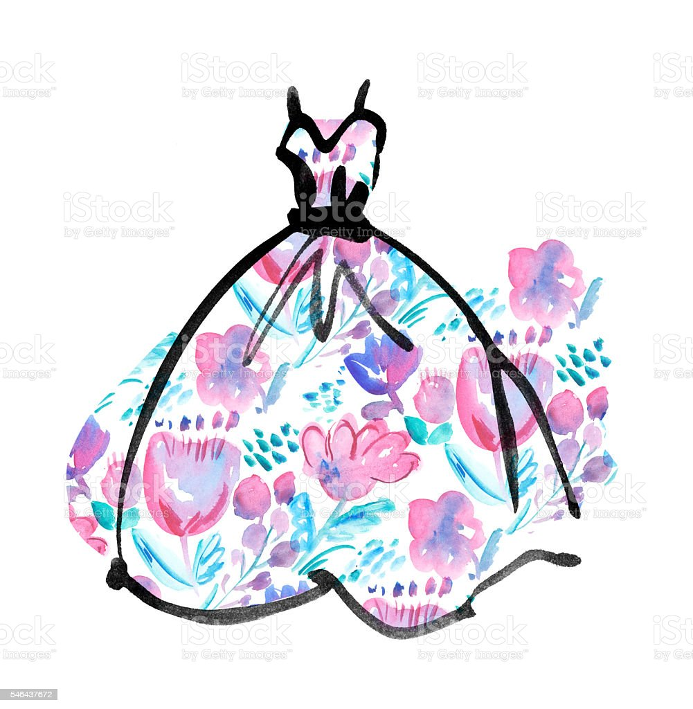 fancy dress with floral pattern. watercolor and ink sketch vector art illustration