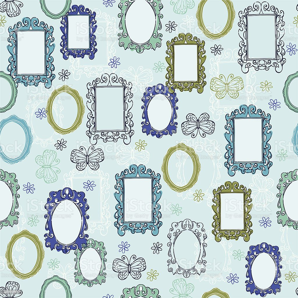 Fancy Frames & Mirrors Seamless Pattern royalty-free stock vector art