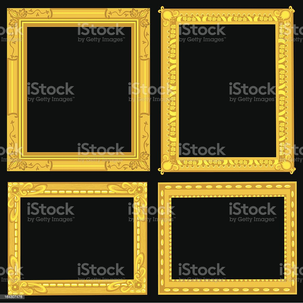 Fancy Gold Picture Frames royalty-free stock vector art