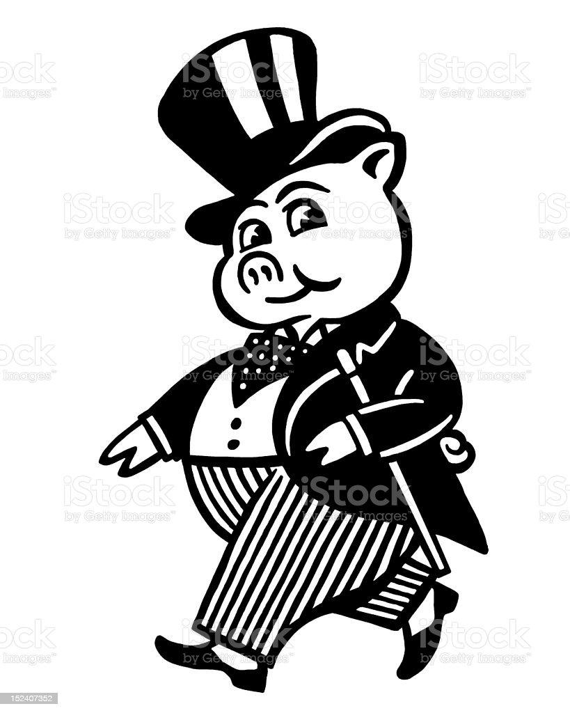 Fancy Pig in Top Hat vector art illustration
