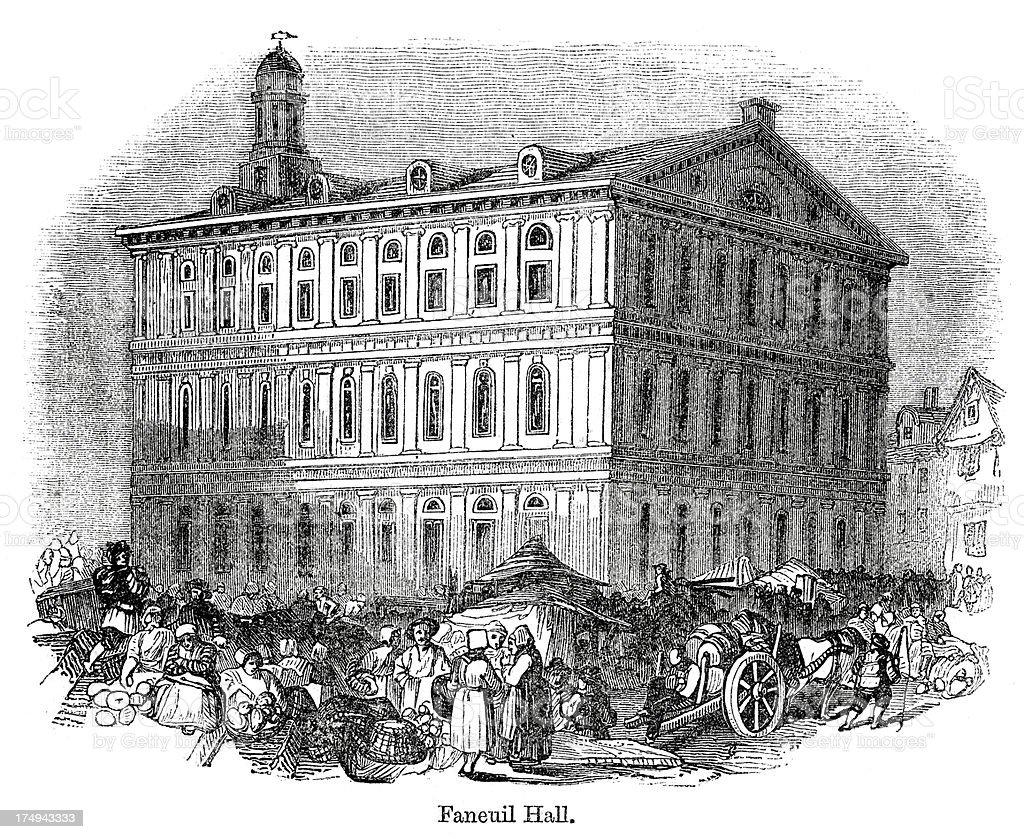 Faneuil Hall, Boston vector art illustration