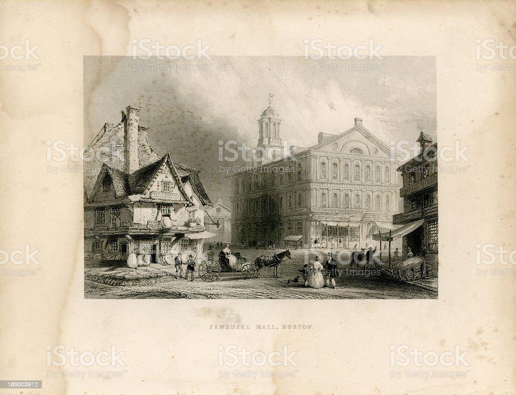 Faneuil Hall, Boston (Geo Virtue 1839) royalty-free stock vector art