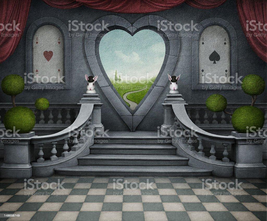 Fantastic background and door of heart. vector art illustration