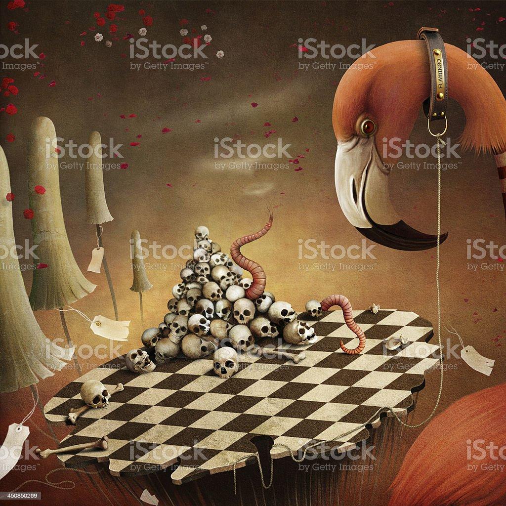 Fantastic illustration witn  Flamingo vector art illustration