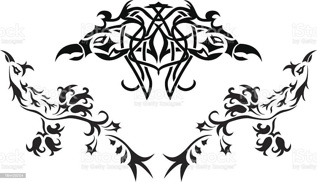Fantasy birds stencil royalty-free stock vector art