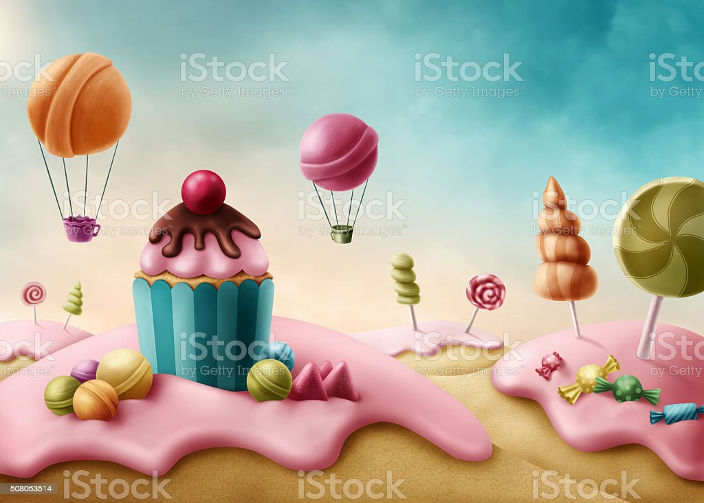 Fantasy candyland vector art illustration