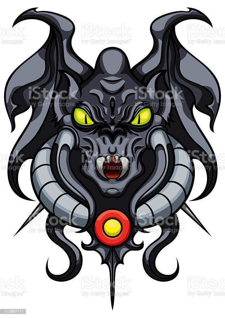 Fantasy demonic gargoyle emblem vector art illustration