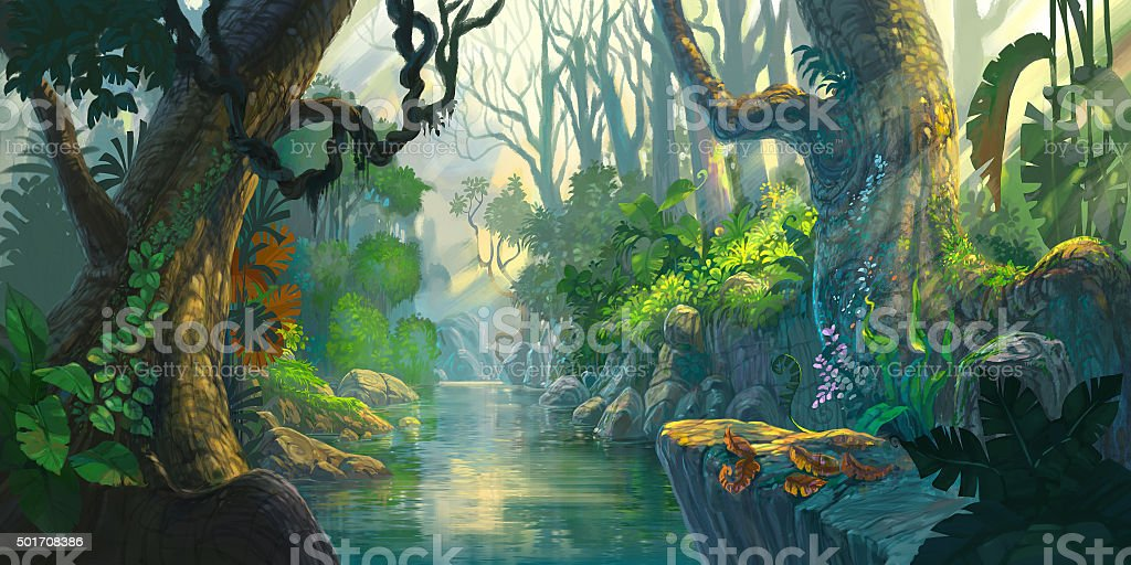 fantasy forest painting vector art illustration