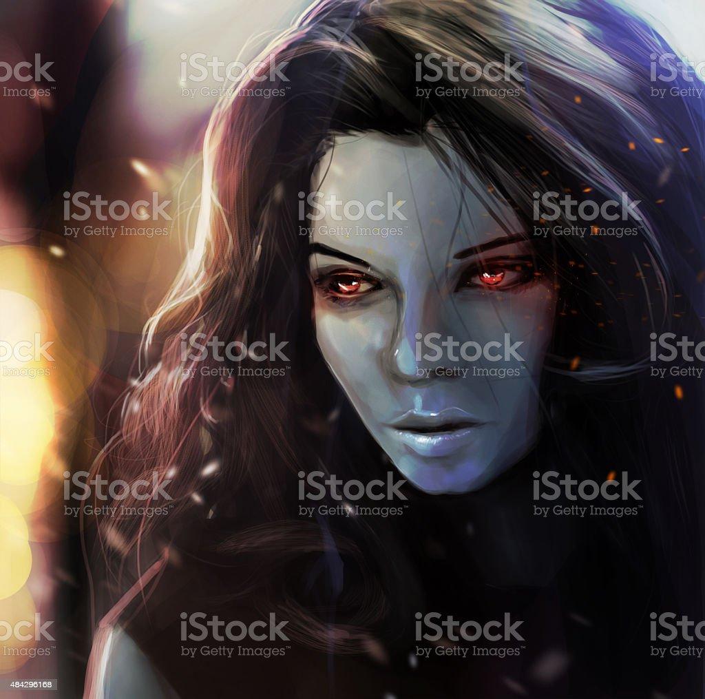 Fantasy girl portrait. vector art illustration