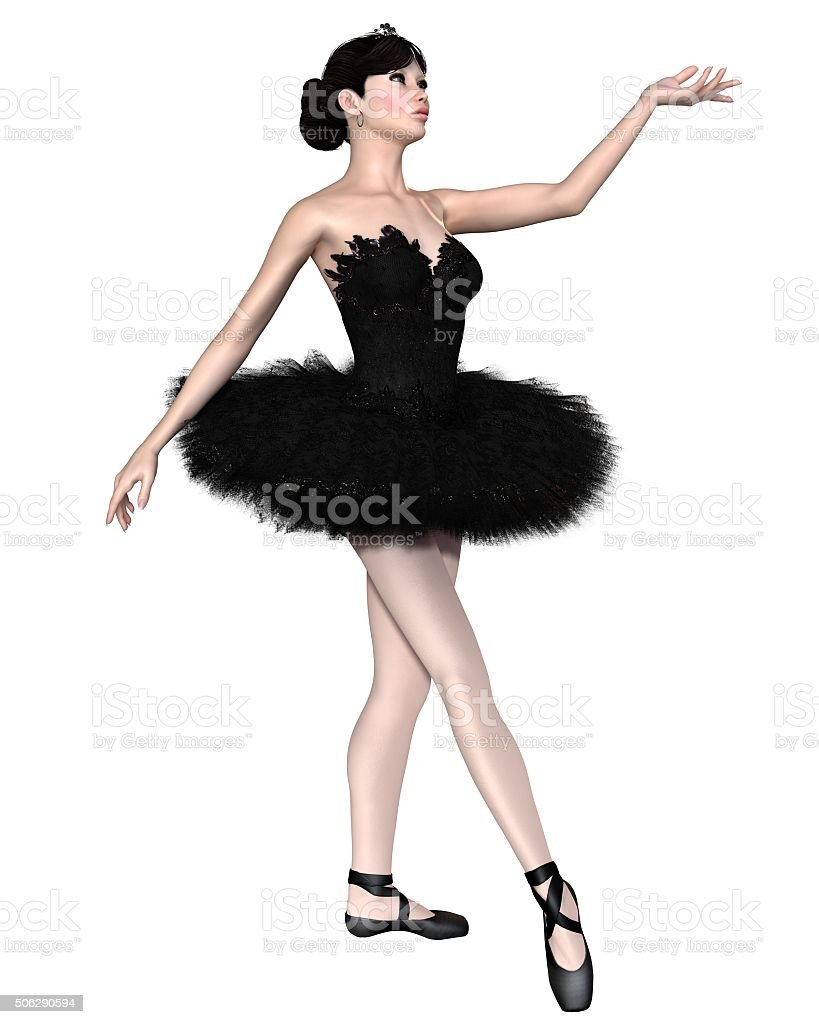 Fantasy illustration of a Black Swan Ballerina from Swan Lake vector art illustration