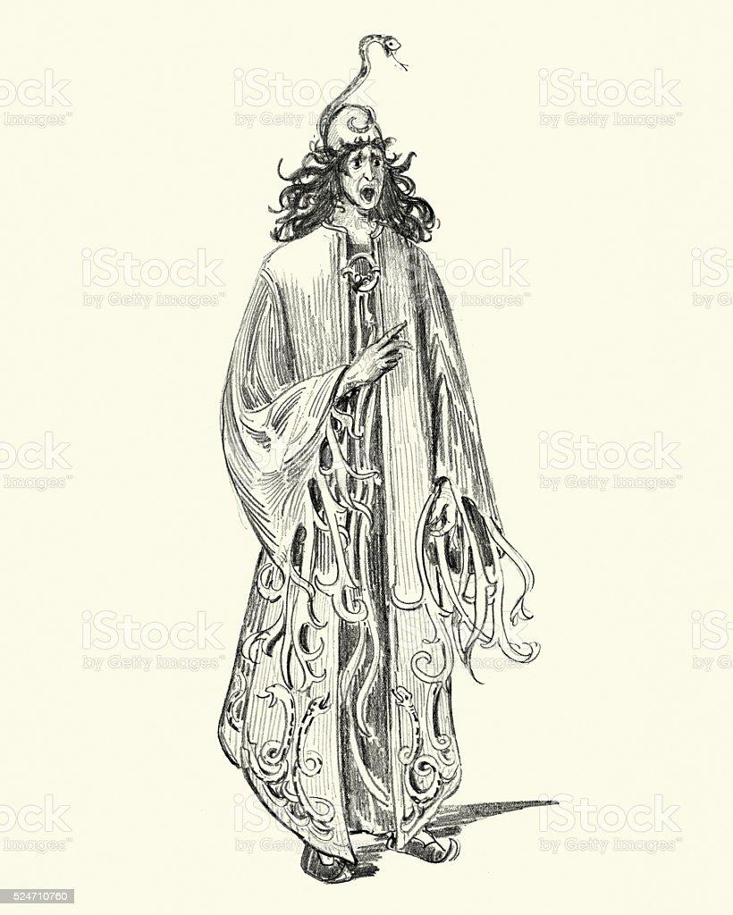 Fantasy - Snake sorcerer vector art illustration