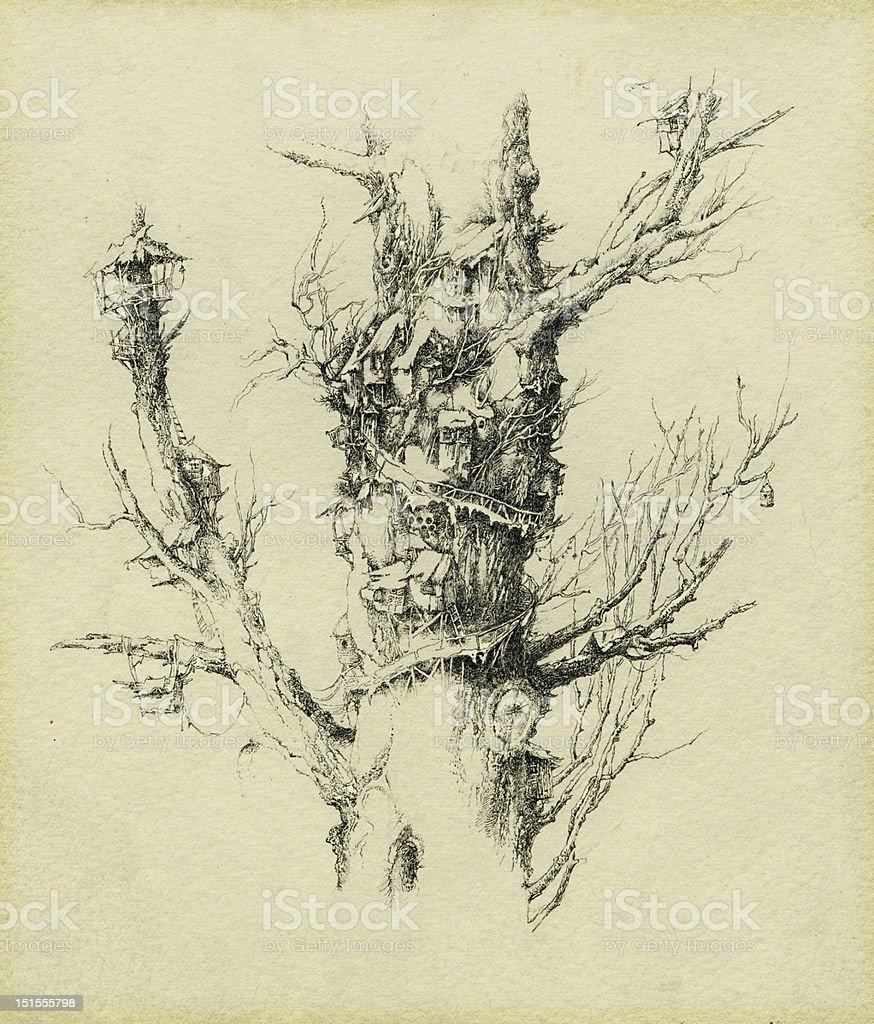 Fantasy tree house. royalty-free stock vector art