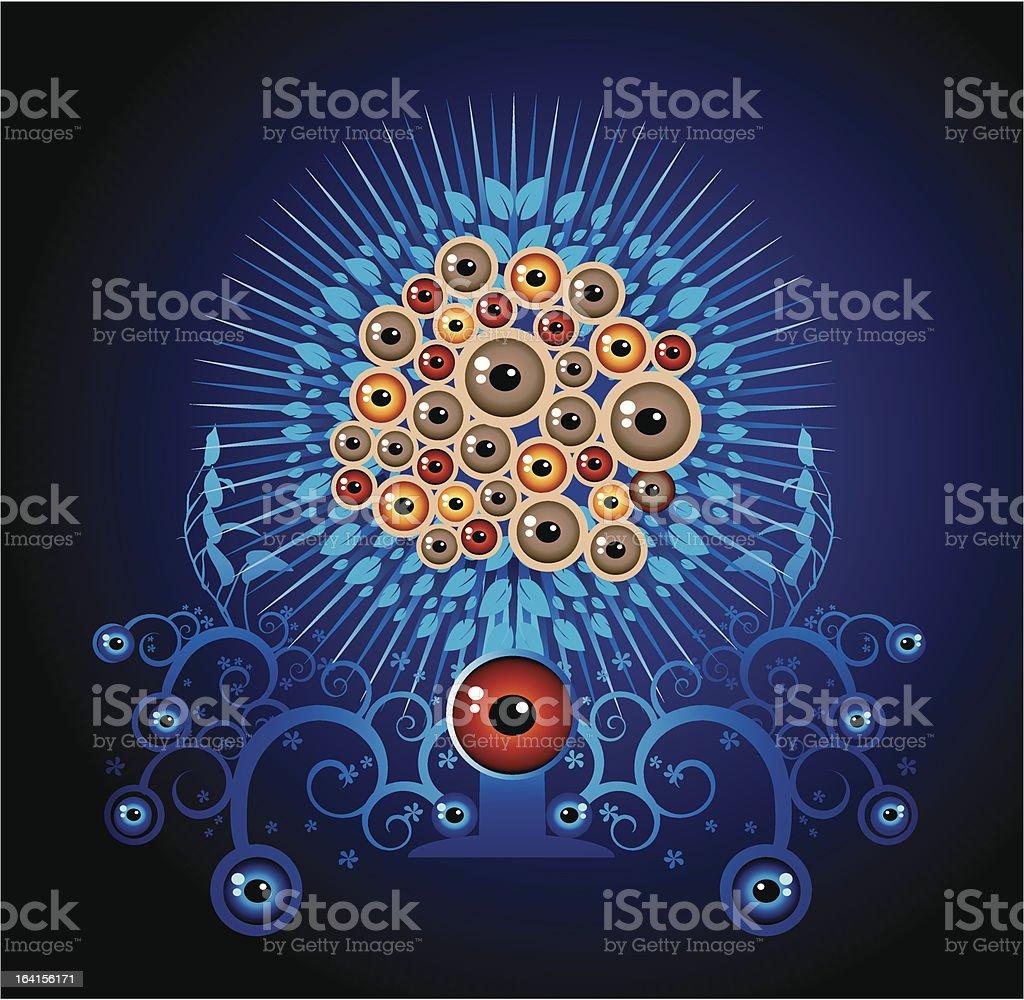 Fantasy_eyes ball tree royalty-free stock vector art