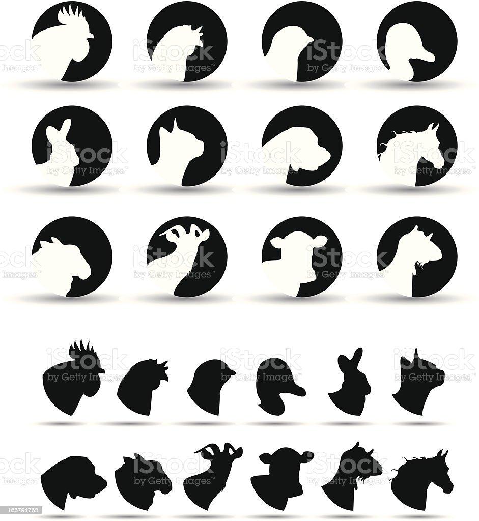 iconos de animales de granja illustracion libre de