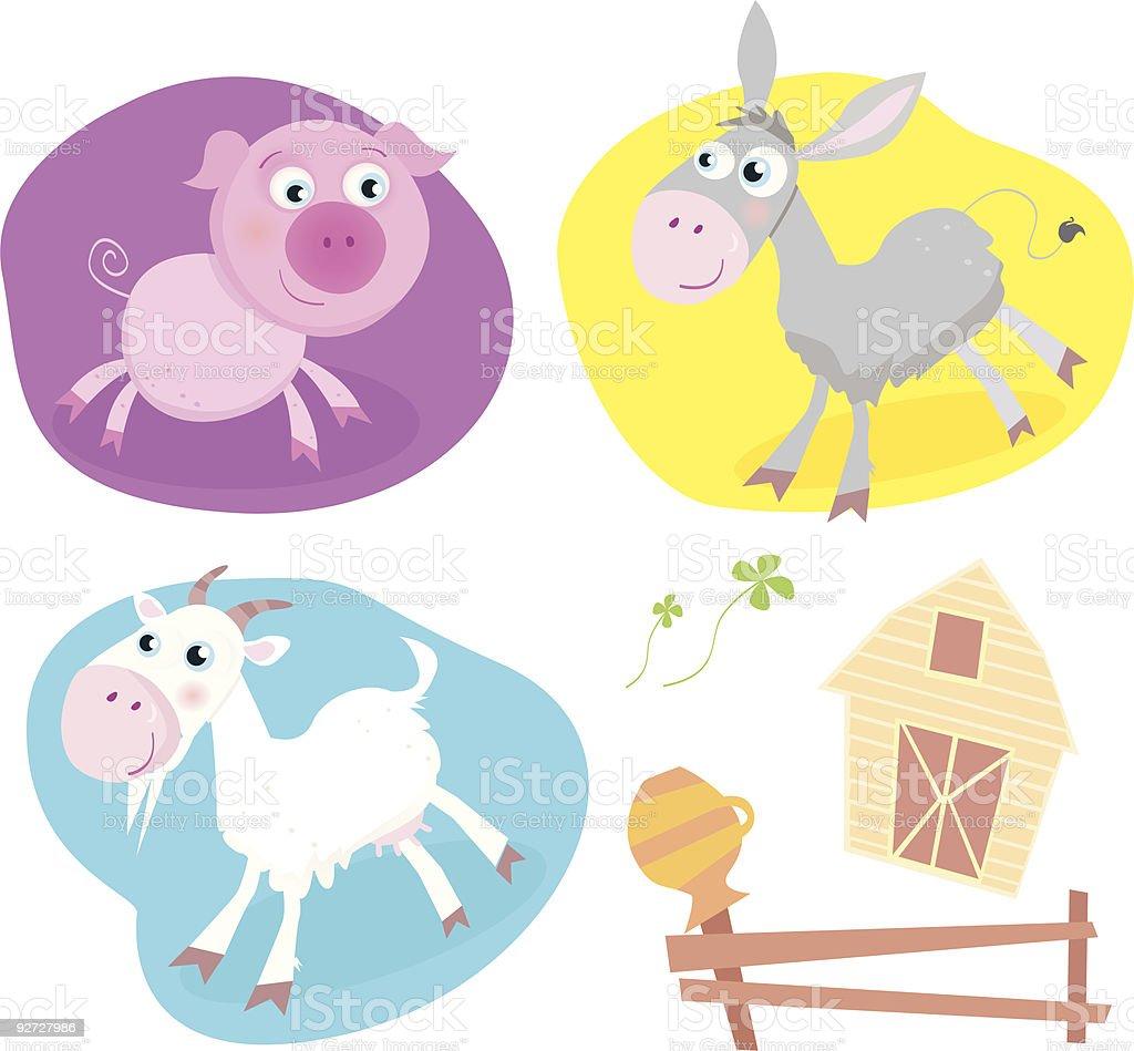 Farm animal pack – pig, goat, donkey. royalty-free stock vector art