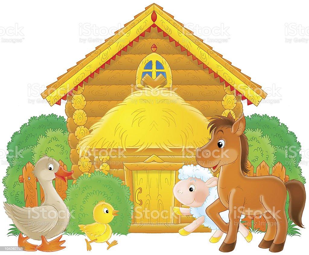 Farm animals in a farmyard royalty-free stock vector art