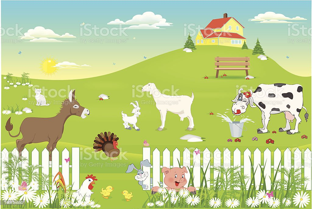 farm animals in nature royalty-free stock vector art