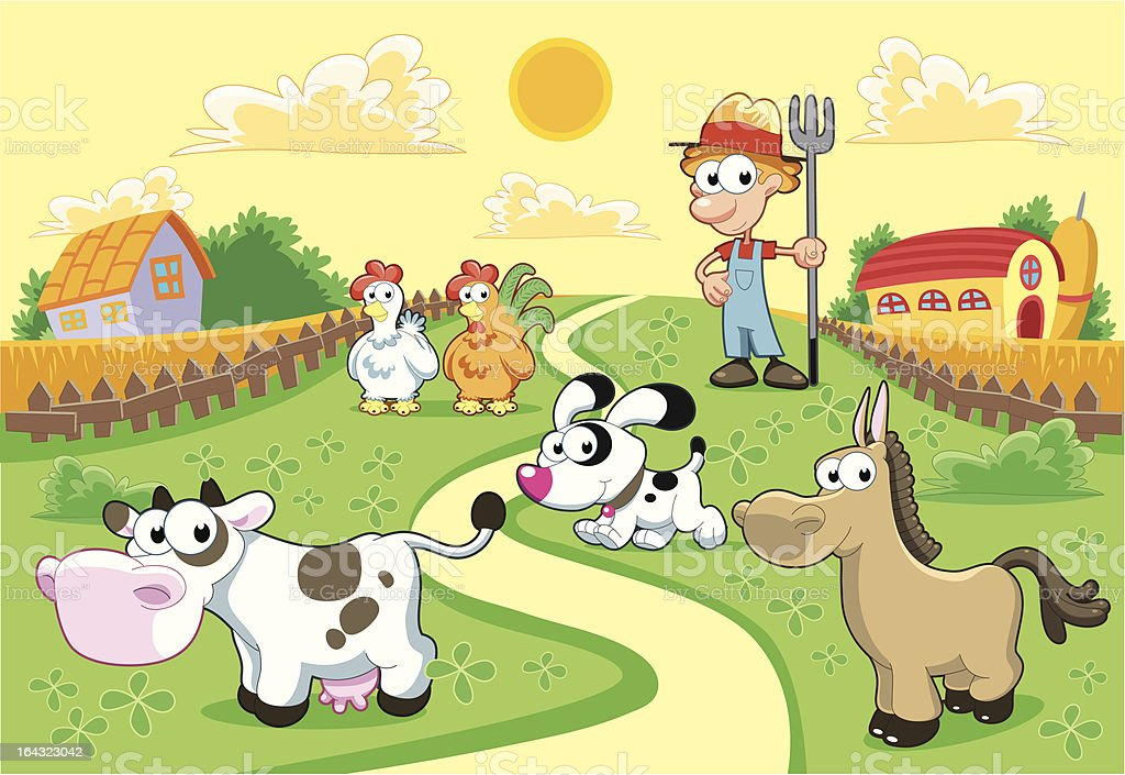 Farm Family with background. vector art illustration