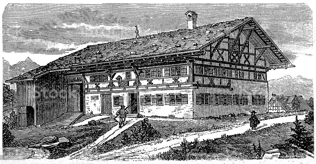 Farm house Allgau (Southern Germany) vector art illustration