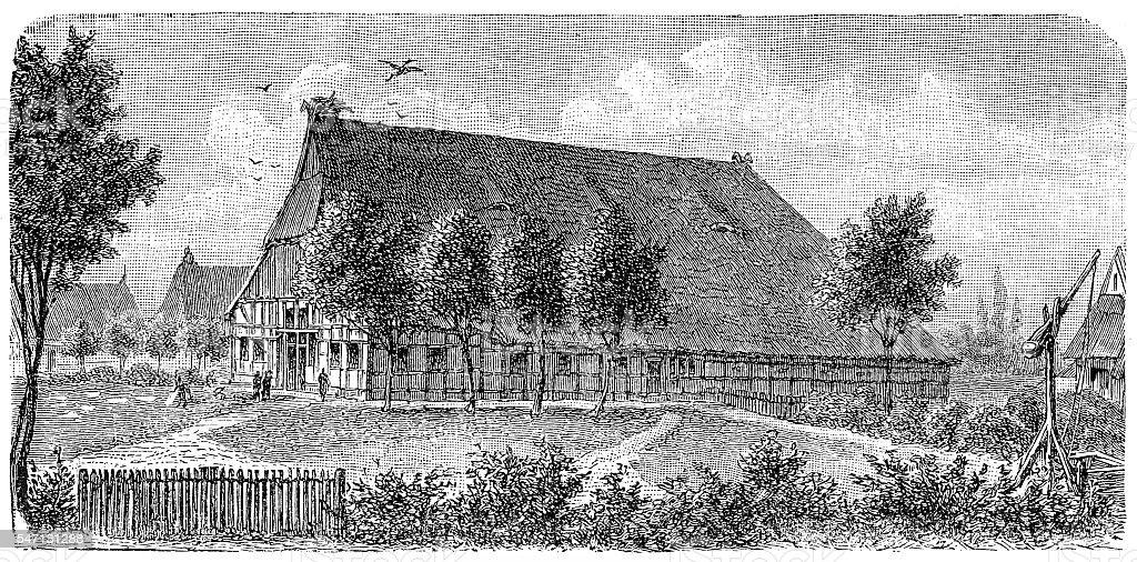 Farm house Holstein (Northern Germany) vector art illustration
