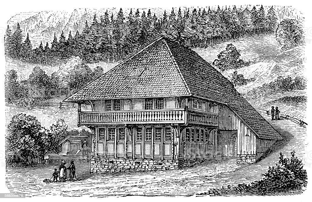 Farm house Schwarzwald (Black Forest) Germany vector art illustration
